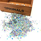 HUELE 15000PCS Shining Star Confetti Glitter Star Sequins for Crafts DIY Nail Art and Party Decoration, Holographic Silver(6MM)