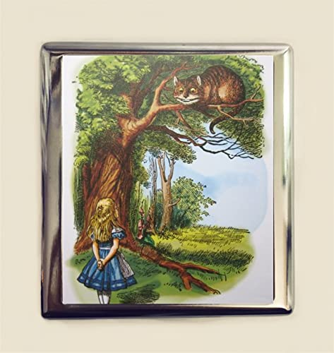 Alice In Wonderland Cigarette Case Business Card ID Holder Wallet Cheshire Cat Lewis Carroll
