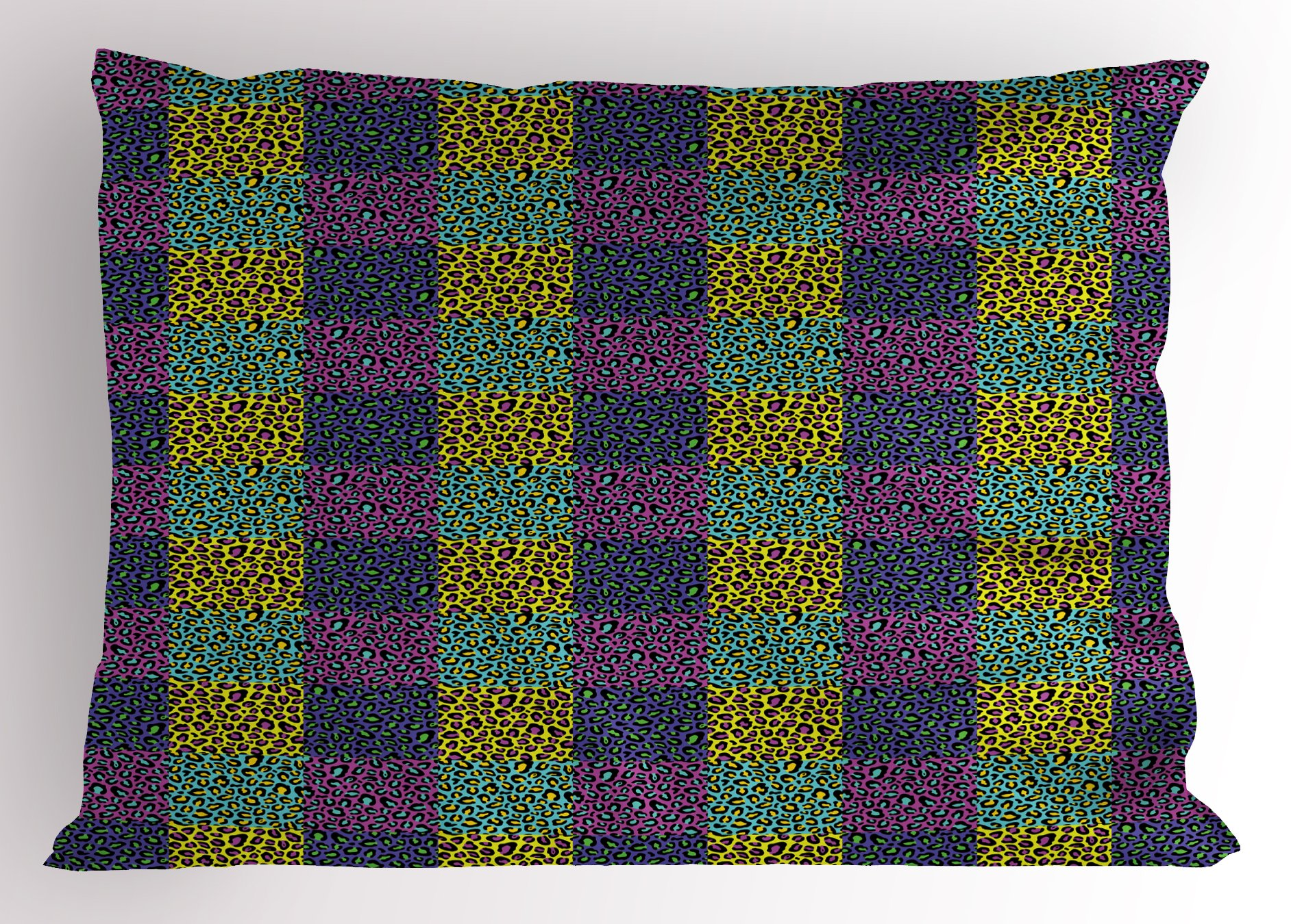Ambesonne Leopard Print Pillow Sham, Colorful Checkered Pattern with Eighties Style Pop and Hipster Animal Spots, Decorative Standard Queen Size Printed Pillowcase, 30 X 20 inches, Multicolor