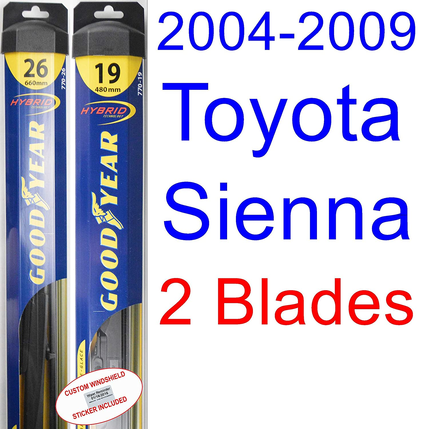Amazon.com: 2004-2009 Toyota Sienna Replacement Wiper Blade Set/Kit (Set of 2 Blades) (Goodyear Wiper Blades-Hybrid) (2005,2006,2007,2008): Automotive
