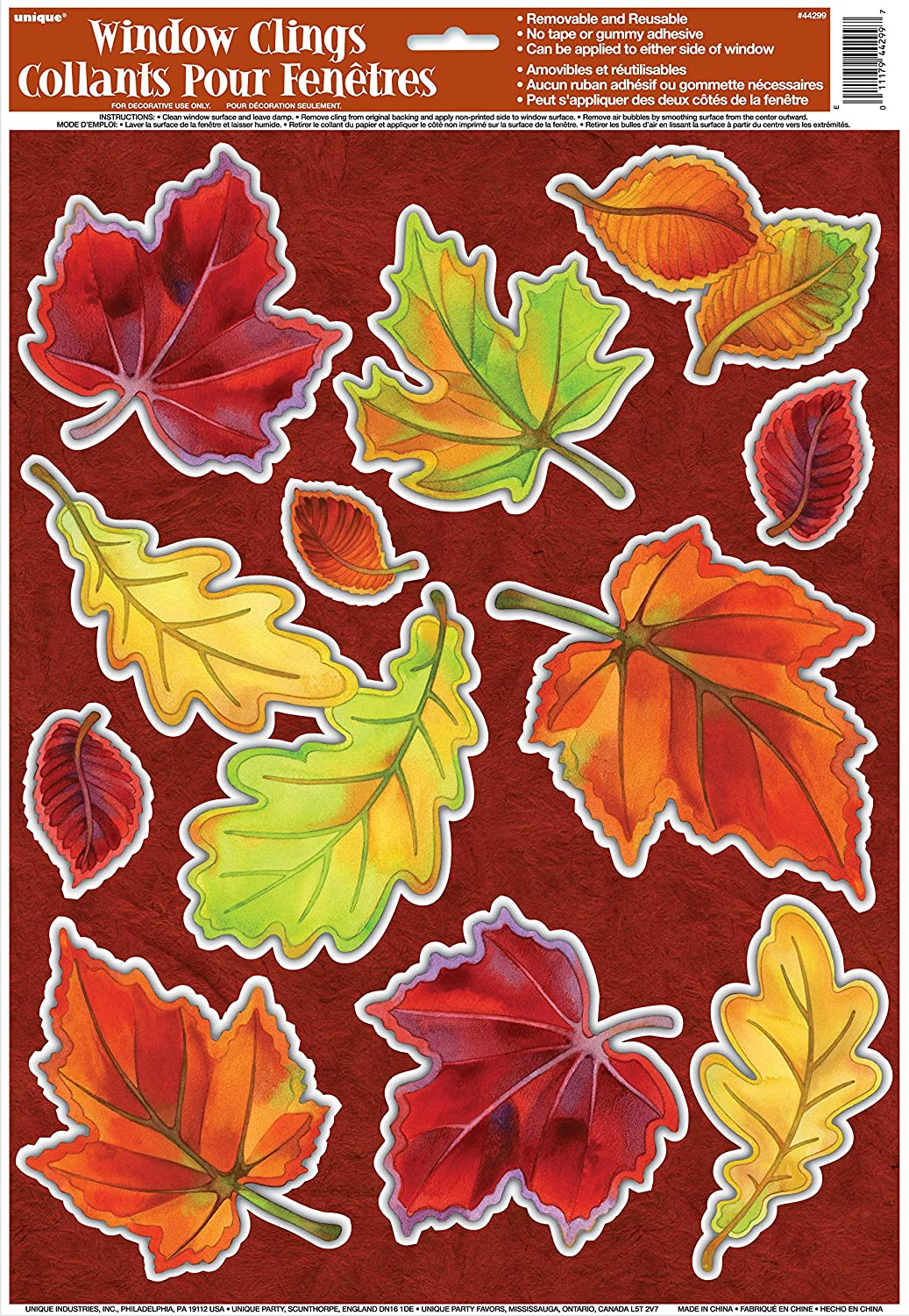 2-Pack Bundle Thanksgiving Wall and Floor Adhesive Decorations Unique Assorted Crisp and Falling Leaves Window Clings Autumn Fall