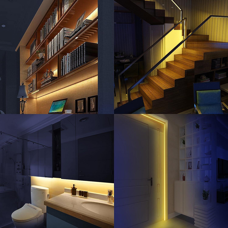 HonestEast Bett Licht, LED Streifen Licht, Bewegungsaktivierte LED  Lichtleiste, Automatischer Ein/Aus Bewegungsmelder Mit 2 Sensoren,  Nachtlicht 2 Sensor ...