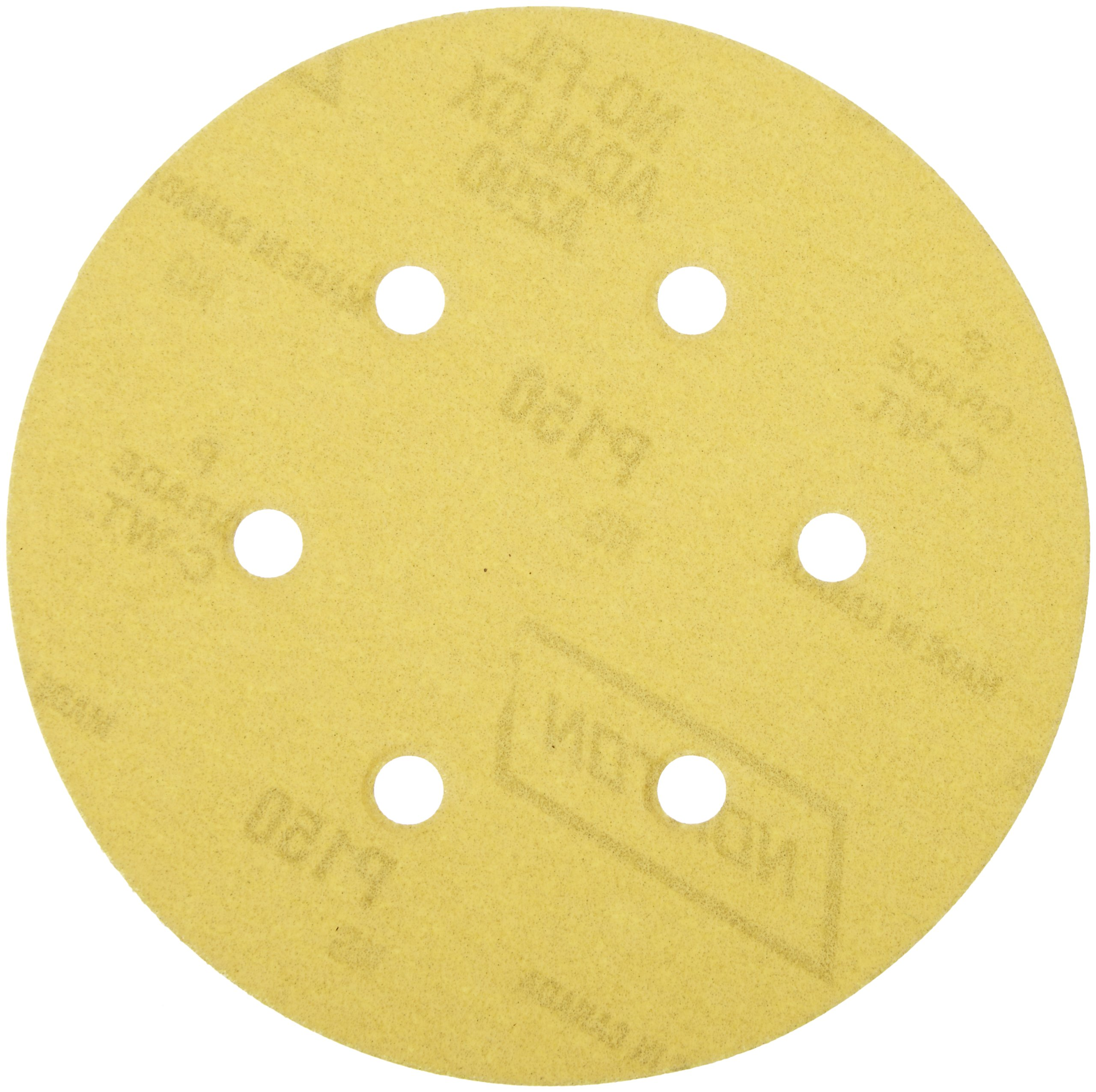 Norton 07660701634 Hook and Sand Universal Vac Hole Abrasive Disc with Hook and Loop Attachment, Paper Backing, Aluminum Oxide, 6 Holes, 6'' Diameter, Grit P150 Fine (Pack of 25)
