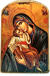 Wooden Greek Christian Orthodox Wood Icon of Mother of Jesus & Jesus Christ/mp2