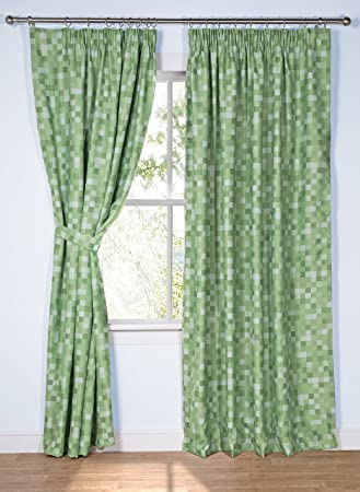 Pixel Ready-Made Light-Reducing Curtains (Green, 117 x 137cm (46 ...
