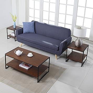 Amazon.com: Modern Living Room Rectangular Coffee Table and 2 ...