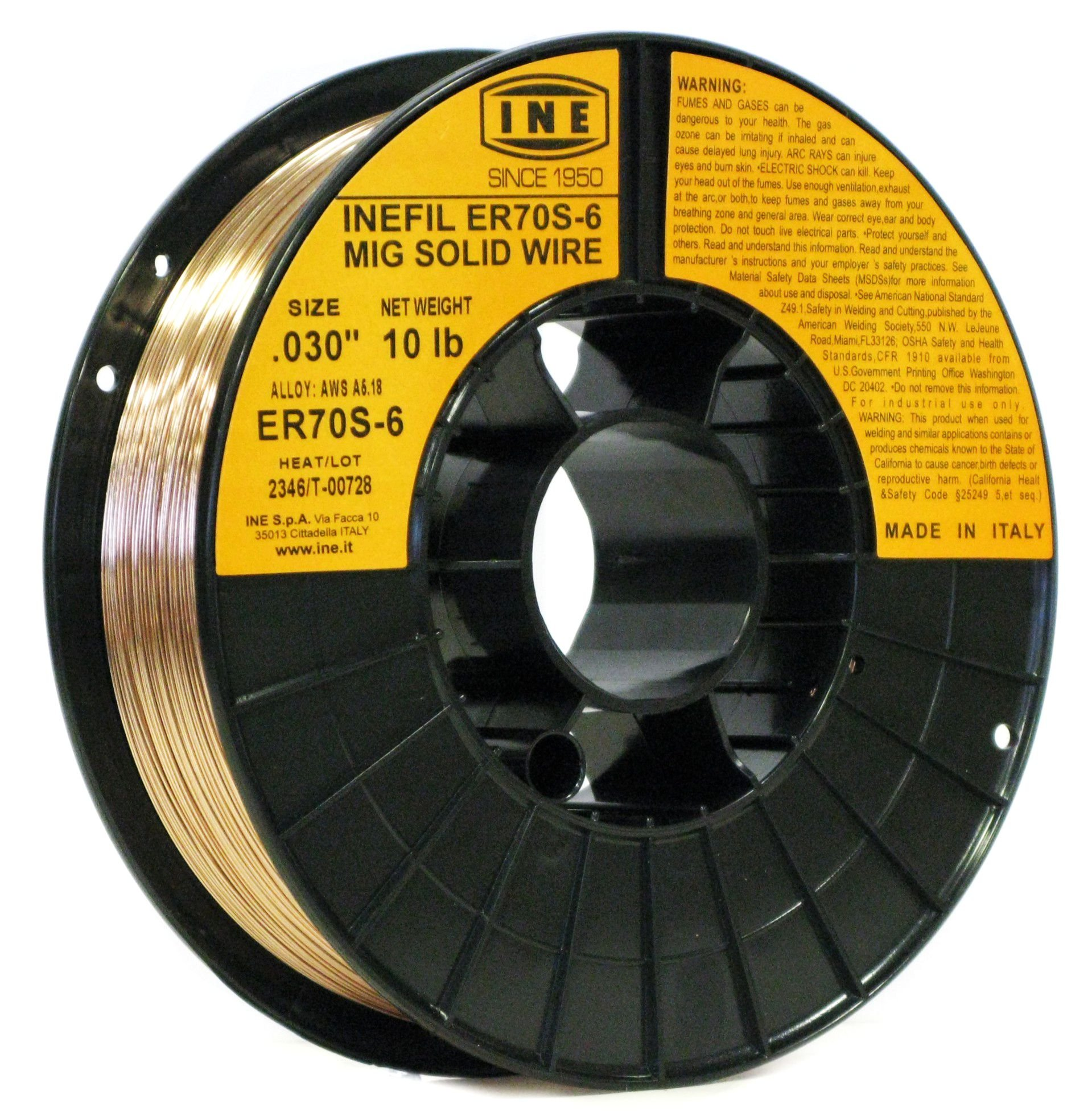 INEFIL ER70S-6 .030-Inch on 10-PoundSpool Carbon Steel Mig Solid Welding Wire by INE USA Since 1950