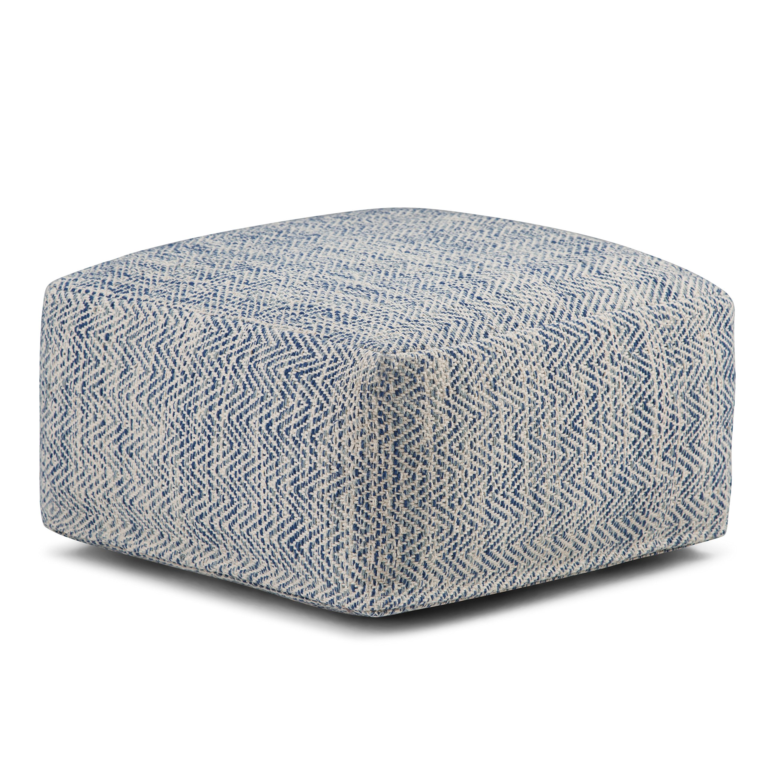 Simpli Home AXCPF-11 Nate Transitional Square Pouf in Patterned Denim Melange Cotton, Fully Assembled by Simpli Home