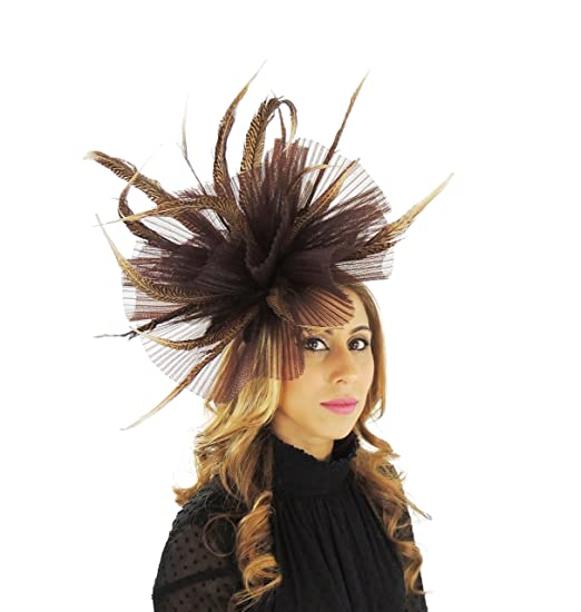 Hats By Cressida Chocolate Brown Fascinator Hat for Ascot Derby With ... ddbf57e09b6