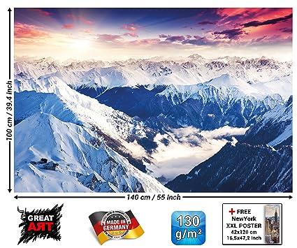 GREAT ART Póster Alpes Panorama Mural Decoración Invierno Puesta de Sol Nieve Paisaje Naturaleza Montañas Glacier | Foto póster Mural Imagen Deco ...