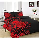 AR's Unique Designs Duvet Cover with Pillow Case Quilt Cover Bedding Set All Sizes (King, Helen Black/Red)