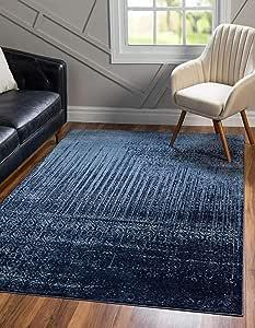 Amazon Com Unique Loom Del Mar Collection Contemporary Transitional Blue Area Rug 5 0 X 8 0 Furniture Decor