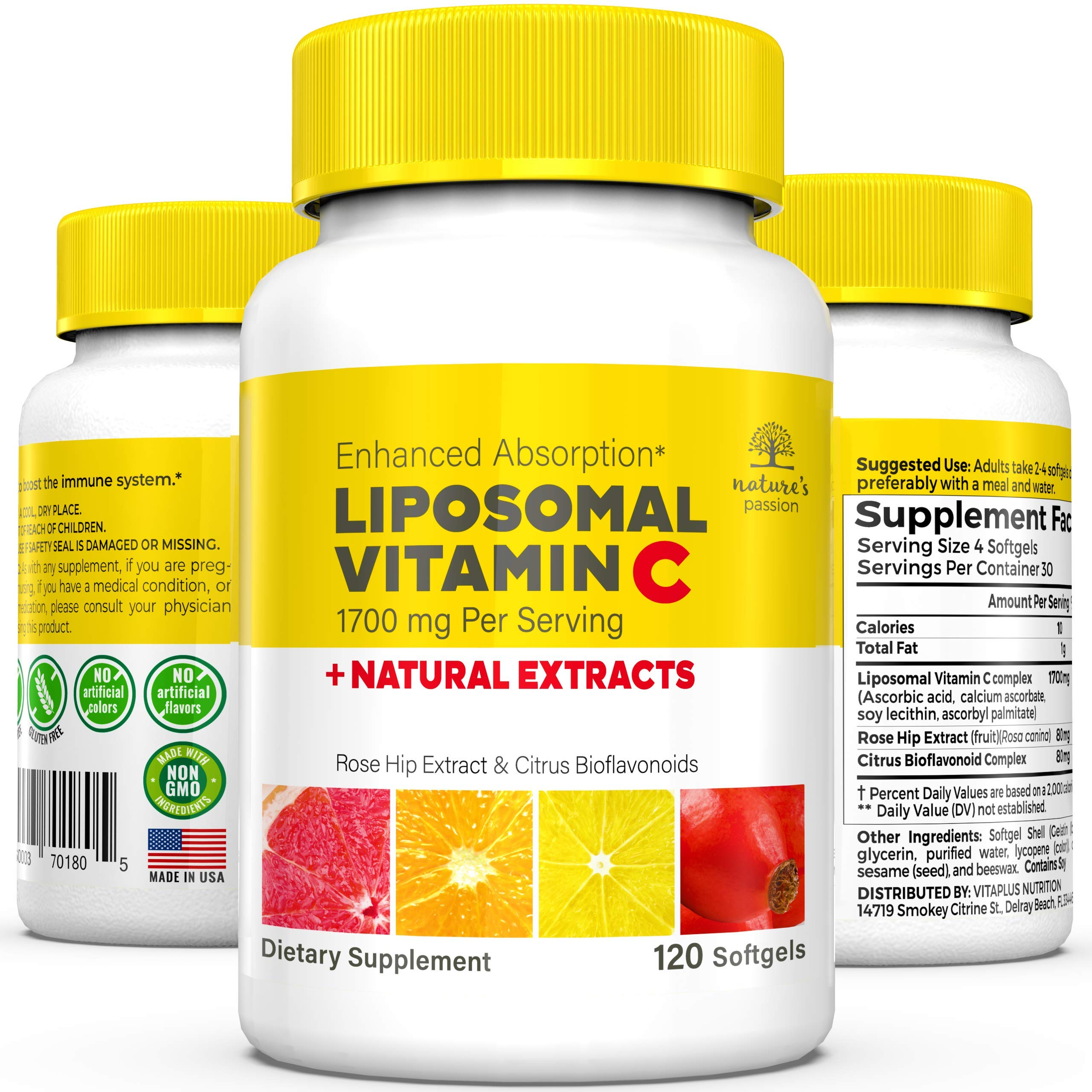 Nature's Passion Liposomal Vitamin C - 1700mg Liposomal VIT C Immune Booster with Natural Rosehip Extract & Citrus Bioflavonoids. 12hr Time Release Vitamin C Capsules for High Absorption, 120 caps