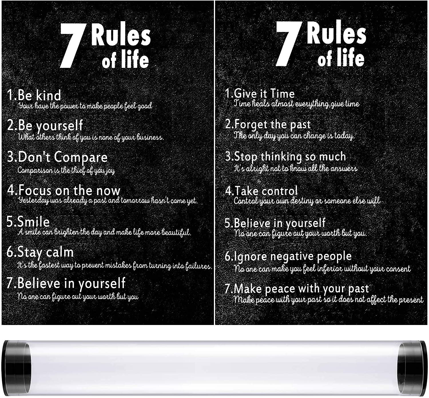 Zonon 2 Pieces 7 Rules of Life Motivational Posters 11.7 x 16.5 Inches 2 Styles Inspirational Quotes Canvas Poster Positive Motivational Wall Art for Office Classroom Home