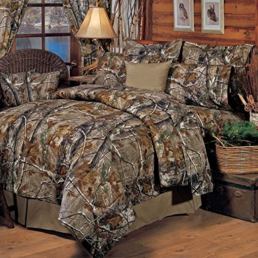 Queen Size Camo Bedding Comforter Set Camouflage 3 Piece Bed Cover Bedspread