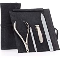 GERMANIKURE 4pc Manicure Set in Black Suede Case - FINOX Stainless Steel Tools Made in Germany, Glass Nail Care Supplies…