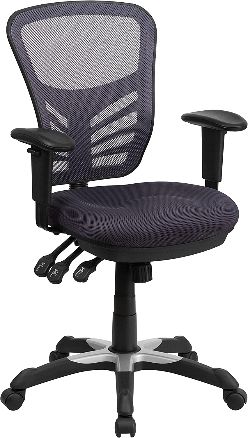 Flash Furniture Mid-Back Dark Gray Mesh Multifunction Executive Swivel Ergonomic Office Chair with Adjustable Arms