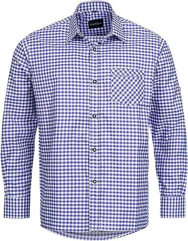 Bongossi-Trade - Camisa para traje típico Lederhose (talla: S-XXXL), diseño de cuadros violeta, tallas S - XXXL morado L : Amazon.es: Ropa y accesorios