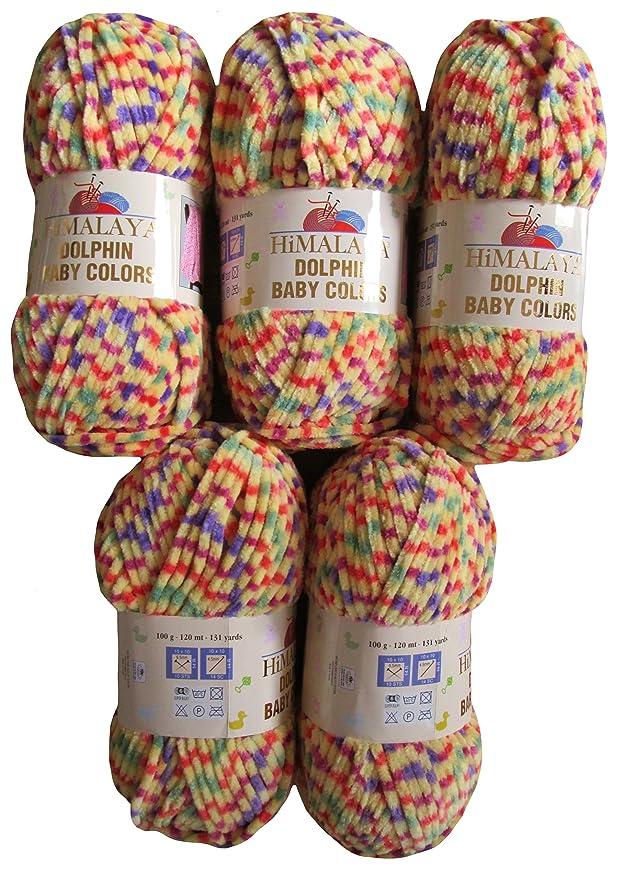 500/gramos Lana Super Bulky para punto y ganchillo 5/x 100/gramos beb/é lana 80405/Color Rosa Salm/ón Azul Lila