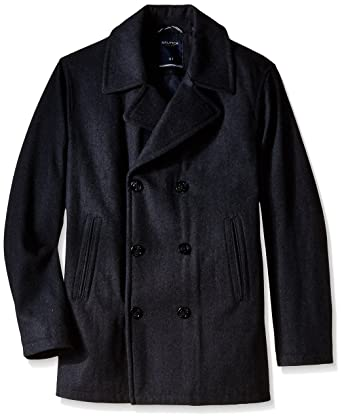 Nautica Men's Big & Tall Wool Peacoat, Charcoal, X-Large/Tall at Amazon  Men's Clothing store:
