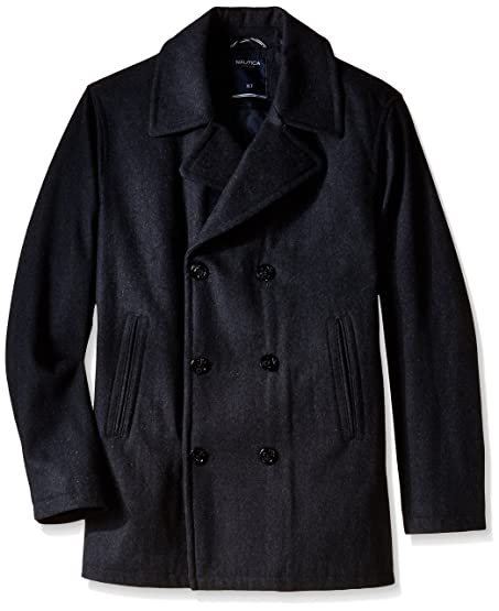 Nautica Men's Big & Tall Wool Peacoat, Charcoal, X-Large/Tall at ...