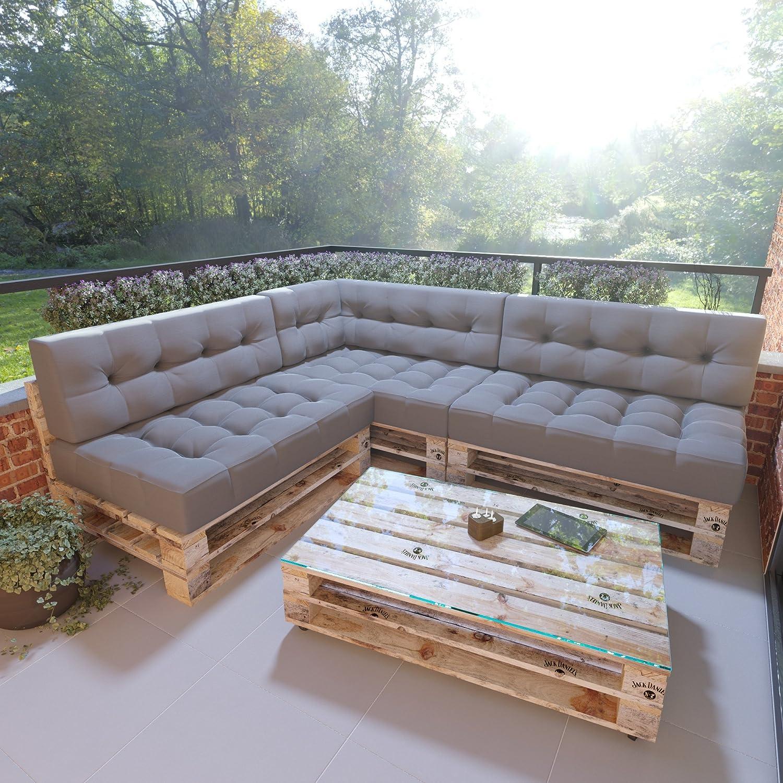 Bequeme Outdoor Sitzgruppe Mit Esstisch Auflagen Grau