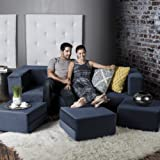 Jaxx Zipline Convertible Sleeper Sofa & Three Ottomans / California King-Size Bed, Marine