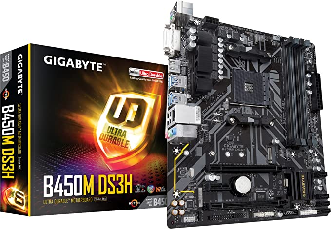 Amazon Com Gigabyte B450m Ds3h Amd Ryzen Am4 Micro Atx M 2 Hmdi Dvi Usb 3 1 Ddr4 Motherboard Computers Accessories
