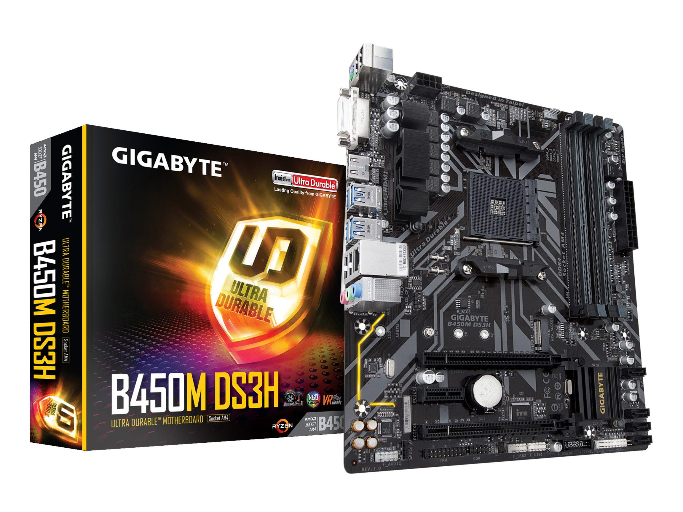 GIGABYTE B450M DS3H (AMD Ryzen AM4/M.2/HMDI/DVI/USB 3.1/DDR4/Micro ATX/Motherboard) by Gigabyte