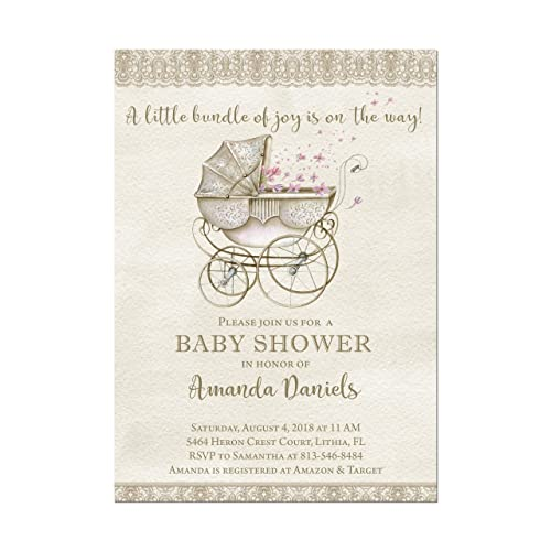amazon com stroller baby shower invitation vintage look baby