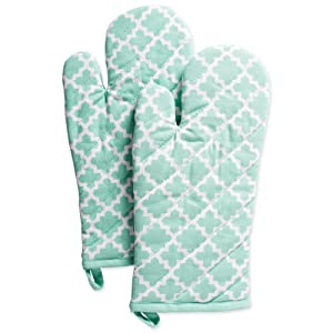 """DII Cotton Lattice Oven Mitts, 13 x 7"""" Set of 2, Machine Washable and Heat Resistant Baking Glove for Everyday Kitchen Cooking-Aqua"""