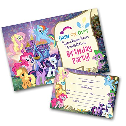 My Little Pony Party Invitations Pack Envelopes Write On