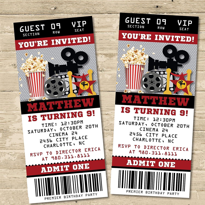 Movie Birthday Party Ticket Invitations - Movie Birthday Invitations