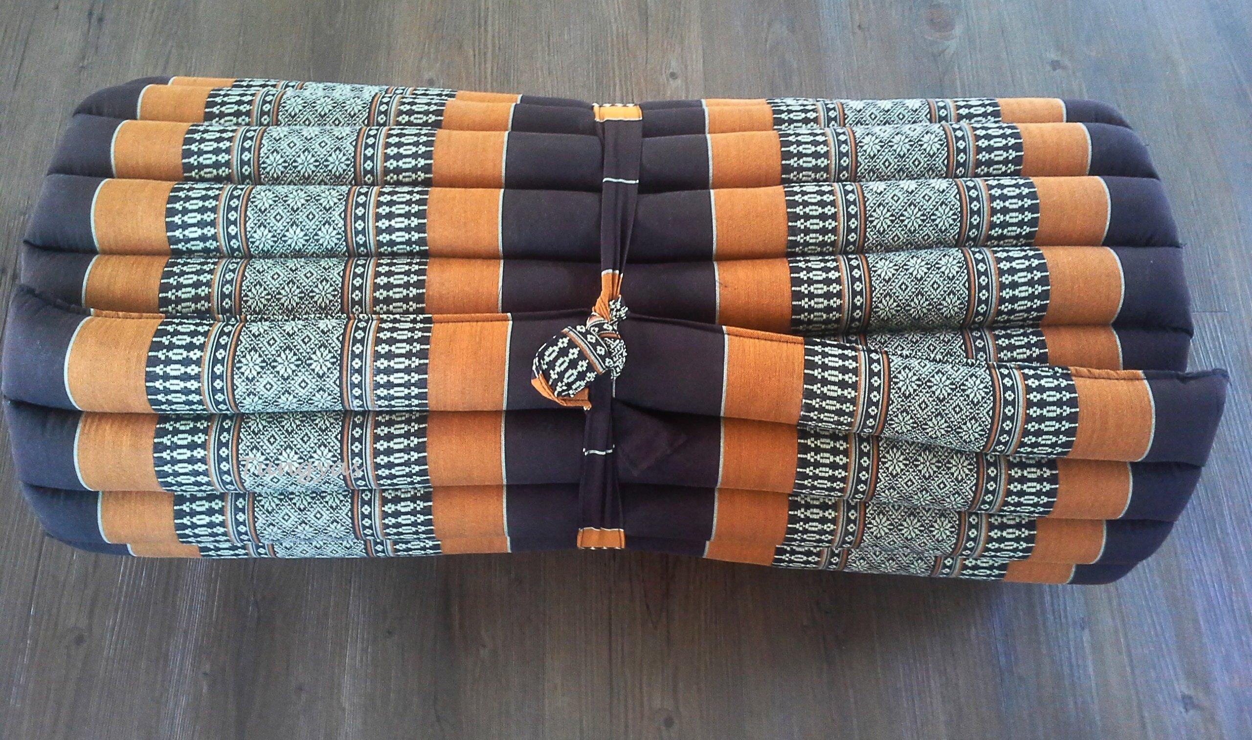 Roll up Thai Mat Fold Out Mattress Cushion Organic 100%Kapok (Gold Metallic)