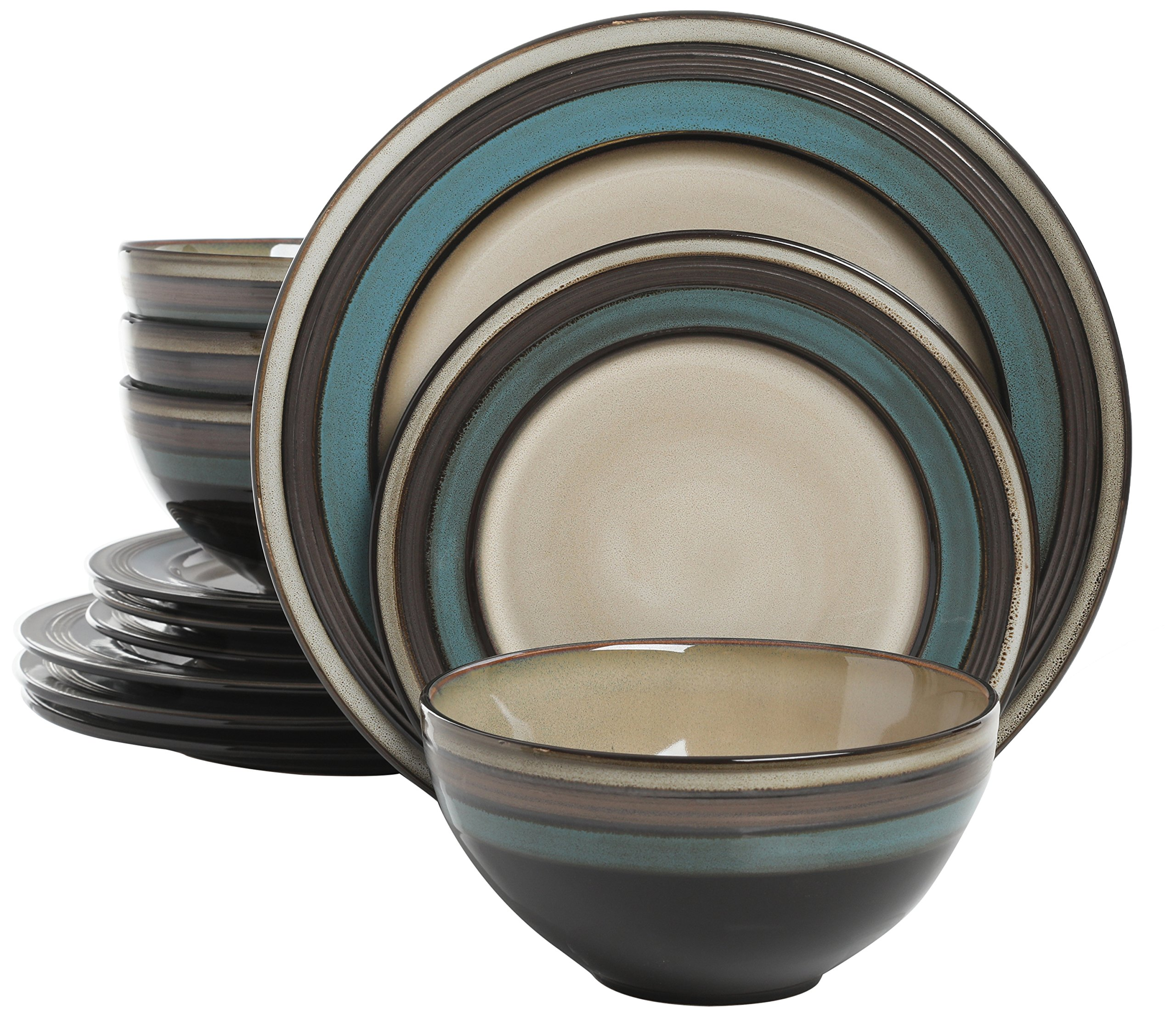 Gibson Elite Everston 12 Piece Dinnerware Set, Teal and Cream, Reactive Glaze Stoneware