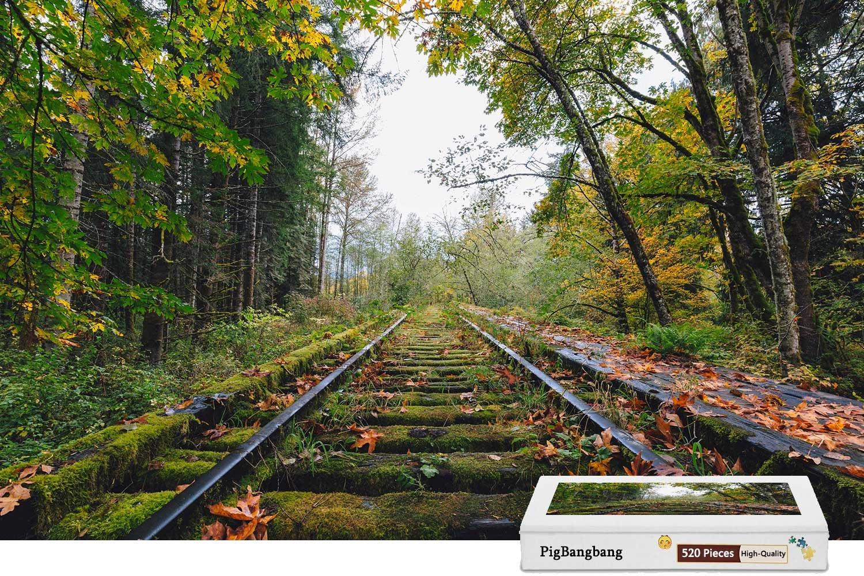 宅配便配送 pigbangbang、intellectiv Games Photomosaic X Jigsawパズル木製Aボックスで有名な絵画 – 15.1 Railway Trees Moss秋 – – 500ピースジグソーパズル(20.6 X 15.1