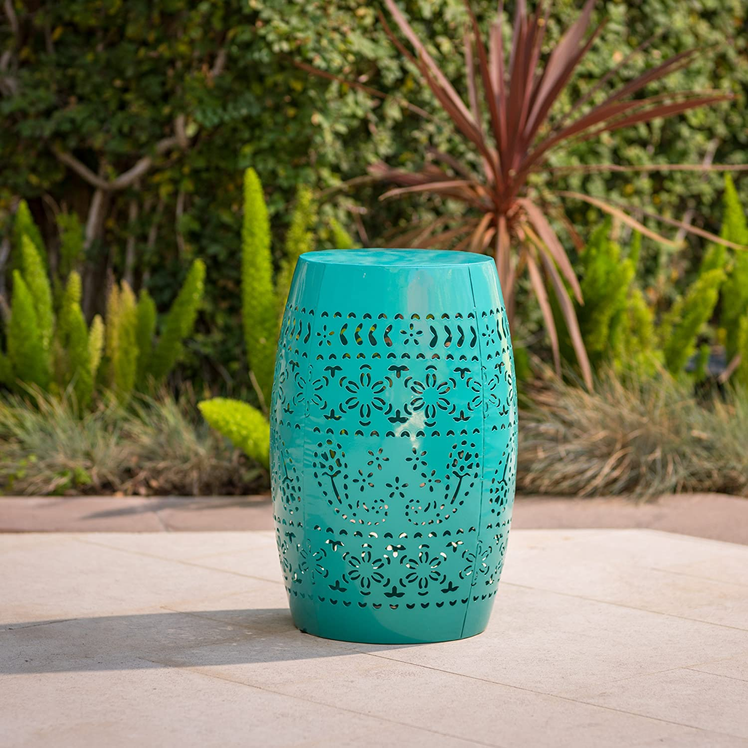 Christopher Knight Home Riley Outdoor 12 Teal Iron Side Table