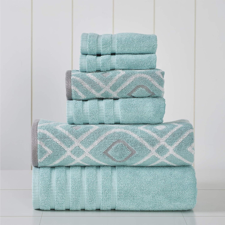 Amrapur Overseas 6-Piece Yarn Dyed Oxford Stripe Jacquard/Solid Ultra Soft 500GSM 100% Combed Cotton Towel Set [Aqua]