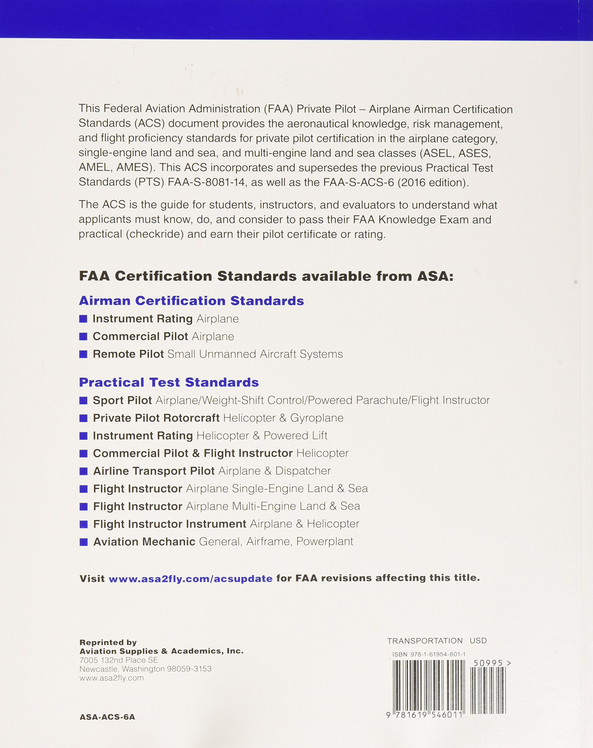 Private Pilot Airman Certification Standards Airplane Faa S Acs