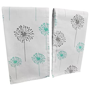"Crabtree Collection Premium Quality Set of 2 Kitchen Dish Towels 100% Cotton Absorbent Tea Towels – Classy Turquoise and Grey Dandelion Design – Ideal 18"" x 28"" Dimensions …"
