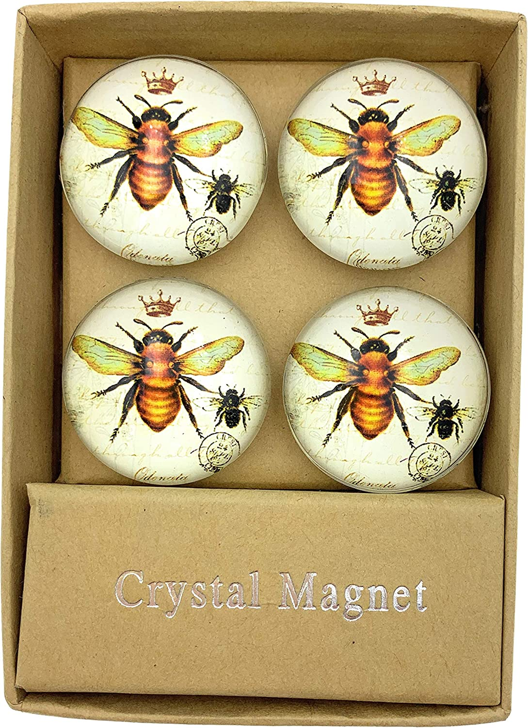 Value Arts Imperial French Honey Bee Glass Dome Magnets, Set of 4
