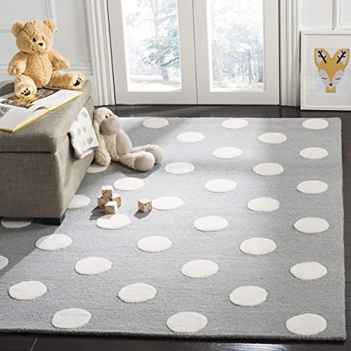 Safavieh Kids Collection SFK904C Handmade Grey and Ivory Polka Dot Wool Area Rug 8' x 10'