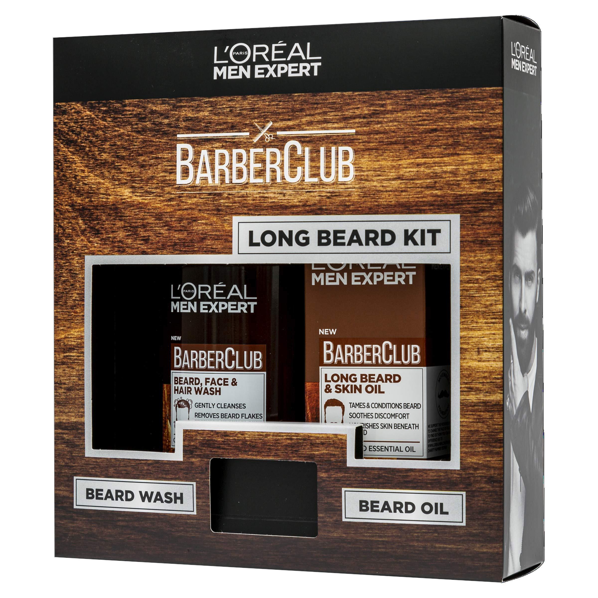L'Oreal Men Expert Barberclub Long Beard Gift Set: Beard, Hair and Face Wash & Oil
