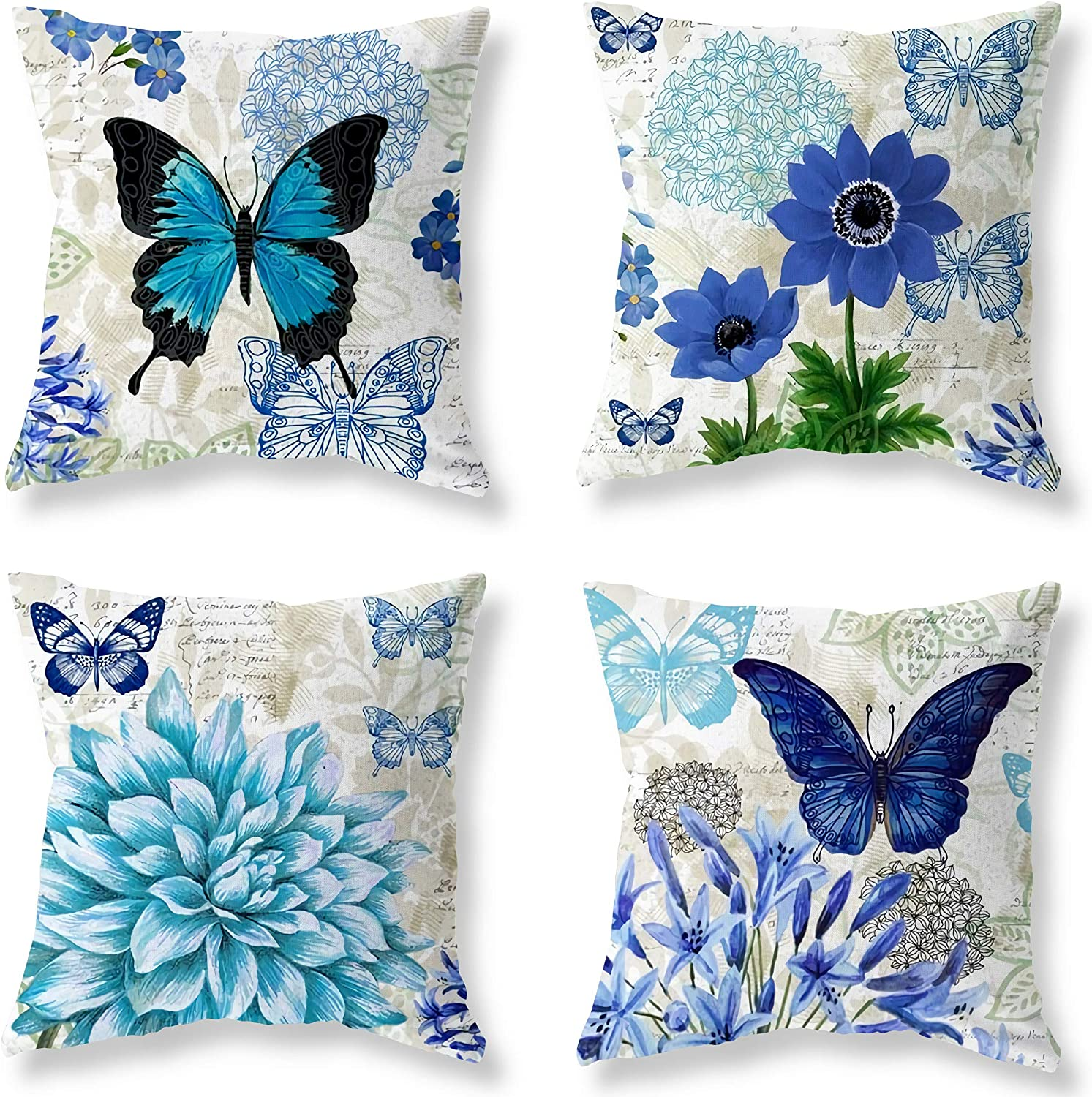 LuckyCow Easter Blue Butterfly Figure Embellished with Orchid Artistic Leaves Graphic, Decorative Square Accent Pillow Case, 18 X 18Inches, Light Blue Dark Blue Gold