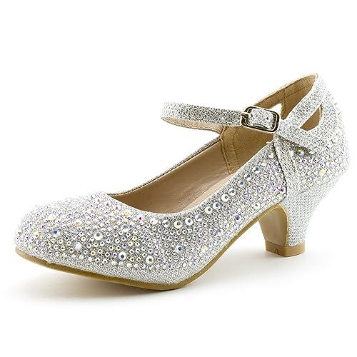 ee7e1f01bbff0 Link Jemma-01K Girls Rhinestone Platform Peagent Dress Shoes
