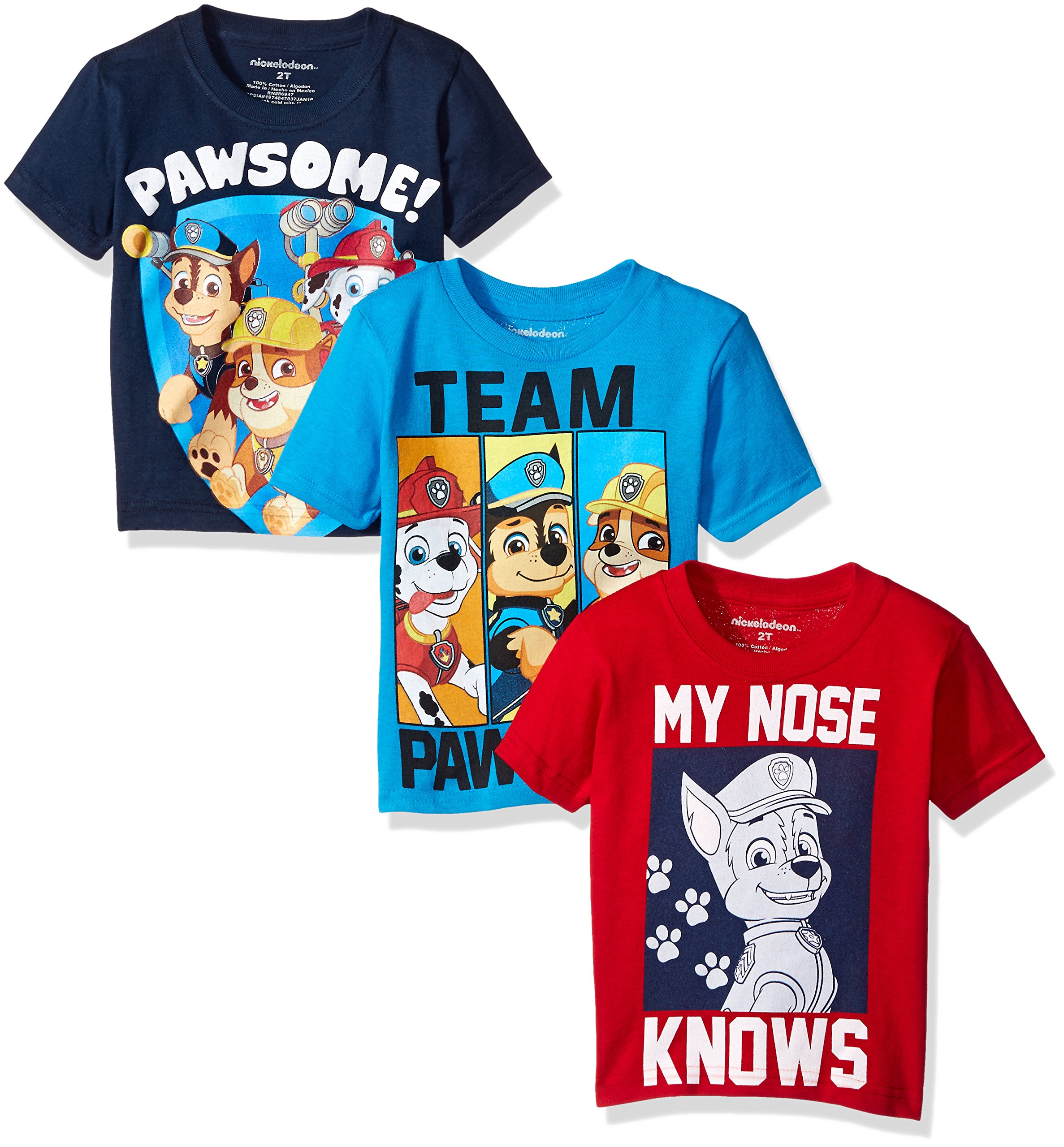 Paw Patrol Toddler Boys' 3-Pack T-Shirt Shirts, Assorted Colors, 4T
