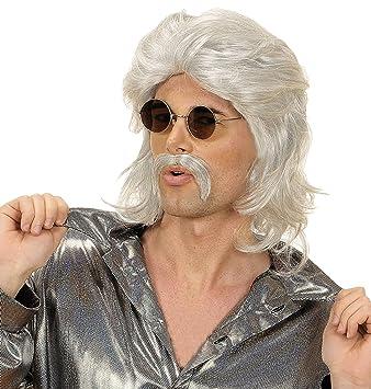 Générique pe760/gris – Peluca años 70 Gris con bigotes – Talla única