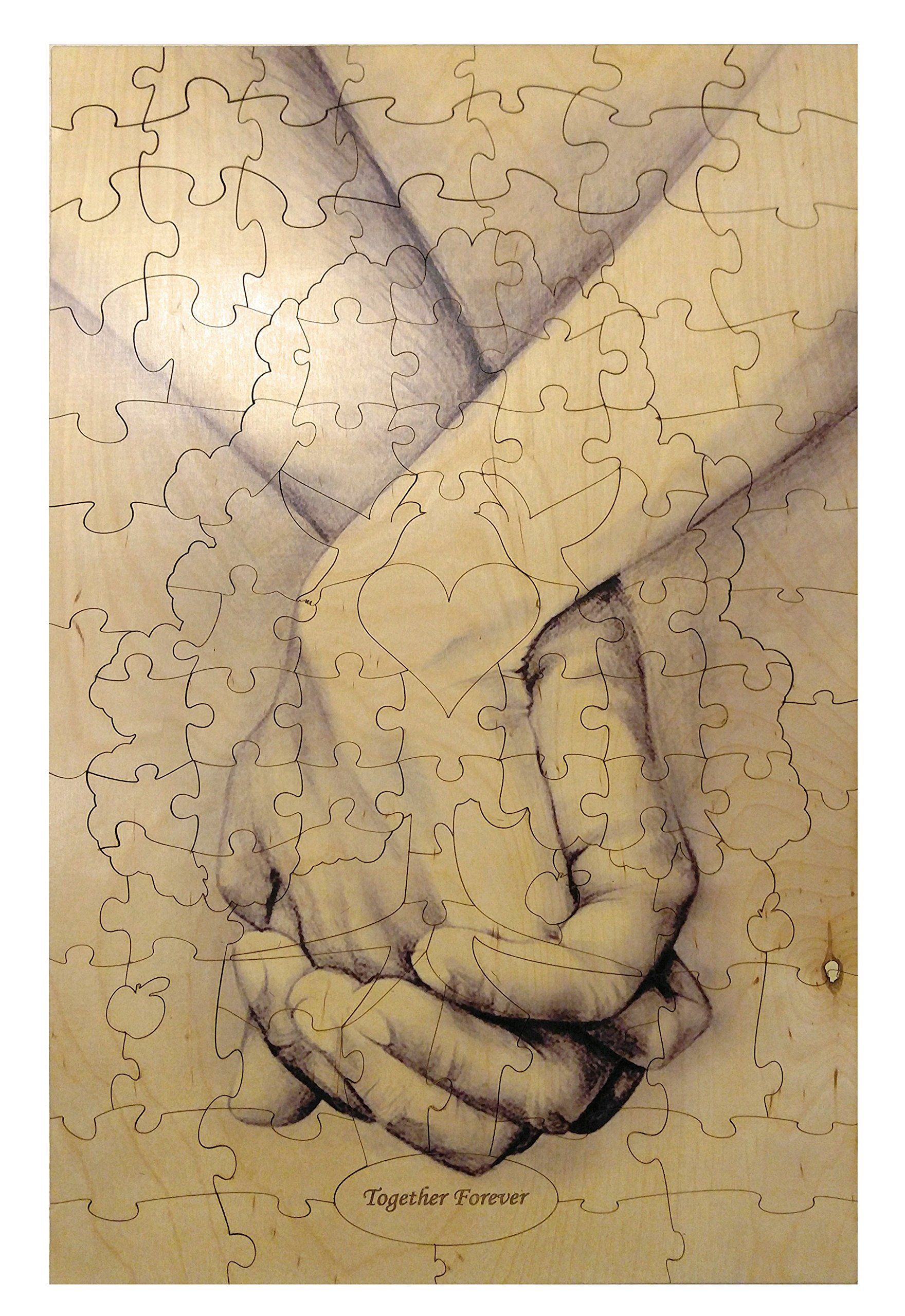 """""""Hand in Hand"""" Alternative Wedding Guest Book Forever Tree Wood Box Puzzle 108 Piece 15 x 23"""
