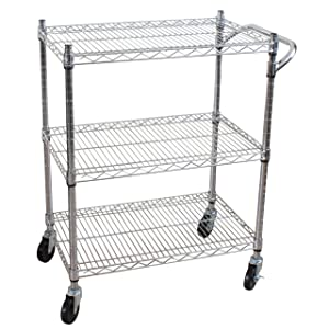 Oceanstar 3-Tier Heavy Duty All-Purpose Utility Cart Chrome