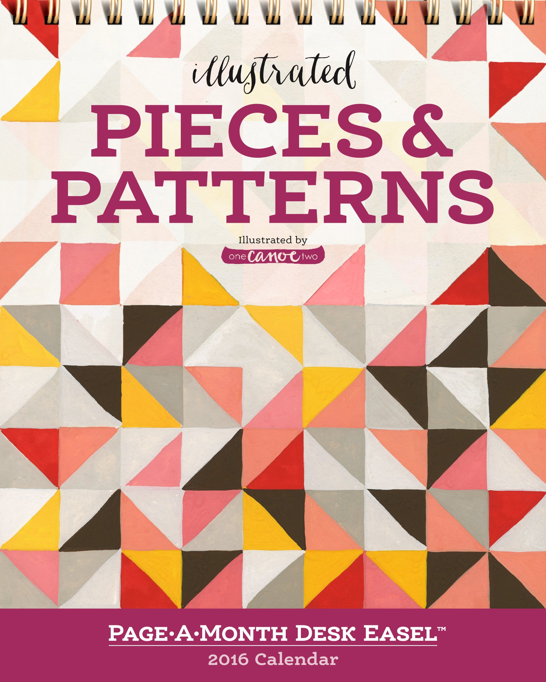 illustrated pieces patterns page a month desk easel calendar 2016